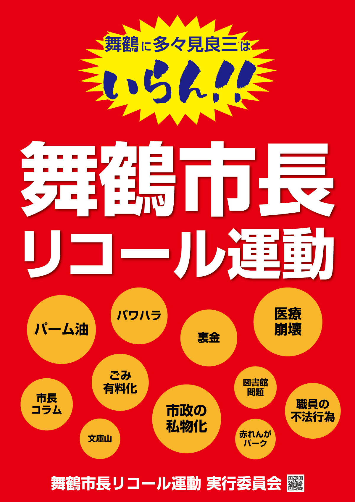 舞鶴 市長リコールのポスター(第一弾)が完成しました